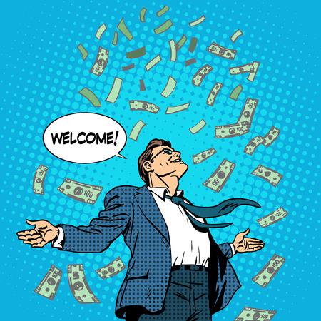 Illustration pour The business concept of successful businessman on money rolls in. Finance wealth profit. Retro style pop art - image libre de droit