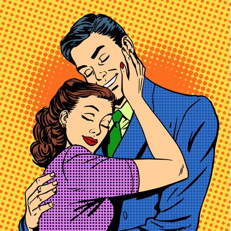 Photo pour Couple in love hugging husband wife retro pop art love romance - image libre de droit