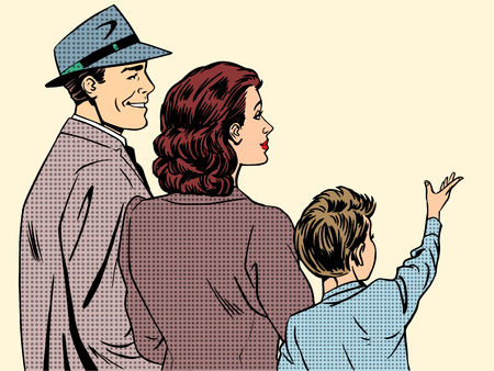Illustration pour Family mom dad and son retro style pop art. People stand back and in profile dreamy boy raised his hand up. The concept of family, love and care - image libre de droit