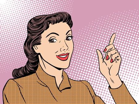 Ilustración de Business coach woman retro pop art style. Businesswoman gesture mentor teacher - Imagen libre de derechos