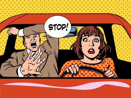 Foto de woman driver driving school panic calm retro style pop art. Car and transport - Imagen libre de derechos