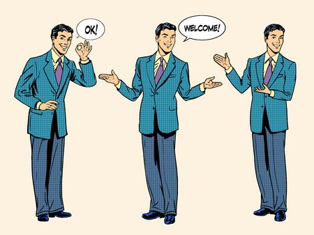Illustration pour Set businessman presentation show welcome. The three figures of men in full growth. Retro style pop art.   - image libre de droit