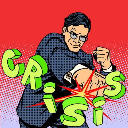 Ilustración de Super businessman hero against the crisis business concept. Retro style pop art. Business people are the decisive force leadership - Imagen libre de derechos