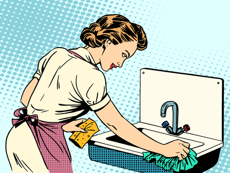 Illustration for woman cleans kitchen sink cleanliness housewife housework comfort retro style pop art - Royalty Free Image