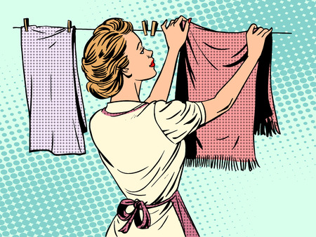 Ilustración de woman hangs clothes after washing housewife housework comfort retro style pop art - Imagen libre de derechos