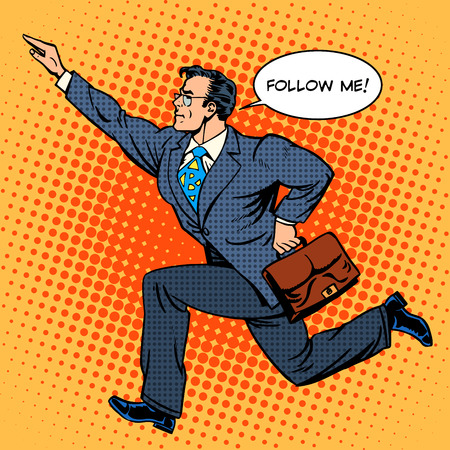 Illustration for Super hero businessman runs forward screaming follow me. Pop art retro style. The business people. Man at work - Royalty Free Image
