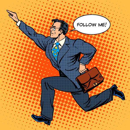 Illustration pour Super hero businessman runs forward screaming follow me. Pop art retro style. The business people. Man at work - image libre de droit