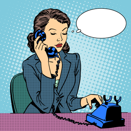 Ilustración de Business woman talking phone. Businesswoman in the office. Retro pop art style - Imagen libre de derechos
