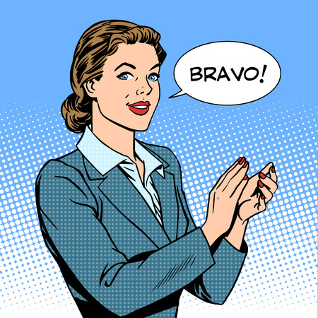 Illustration pour woman applause Bravo concept of success retro style pop art - image libre de droit