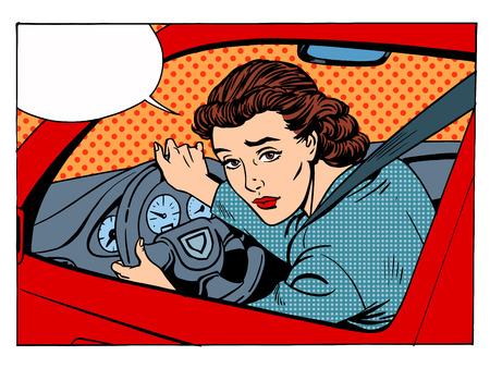 Illustration pour female driver offending transport traffic rules retro style pop art - image libre de droit