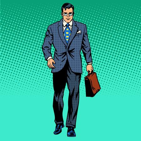 Illustration pour businessman goes forward the business concept of movement retro style pop art - image libre de droit