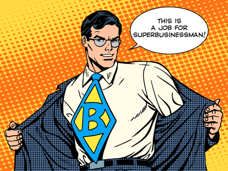 Illustration for job super businessman hero retro pop art style - Royalty Free Image