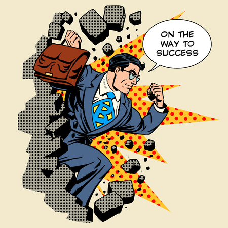 Illustration for Business breakthrough success businessman hero breaks through the wall retro style pop art - Royalty Free Image
