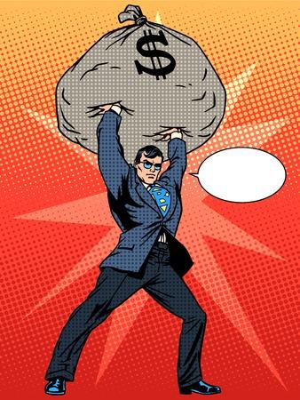 Illustration pour Gigantic profits of financial success. Super businessman hero with a bag of money. The business concept. Pop art retro style - image libre de droit