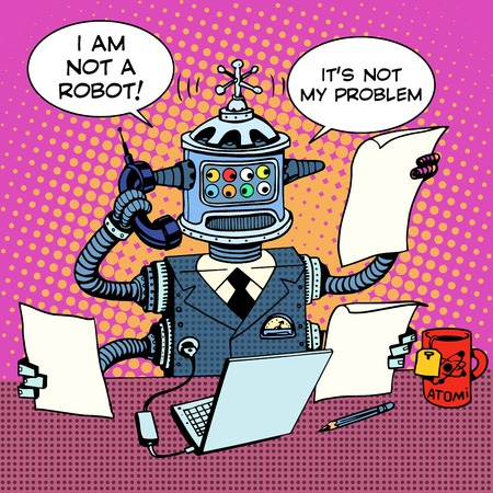 Ilustración de Robot Secretary on the phone business concept. Retro style pop art - Imagen libre de derechos