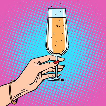Illustration pour Toast a female hand with glass of champagne celebration party. Theme birthday or New year. Retro style pop art - image libre de droit