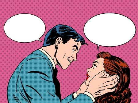 Ilustración de Couple love dialogue. Man and woman talking. Communication, emotions, family psychology. Retro pop art - Imagen libre de derechos