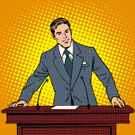 Illustration pour Speaker at the podium. The lecture presentation. Science and education, business school. Retro style pop art - image libre de droit
