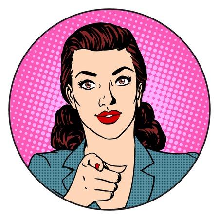 Illustration pour Businesswoman wants in the circle business concept. Retro style pop art - image libre de droit