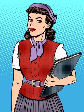 Illustration pour Businesswoman seller consultant hostess pop art retro style - image libre de droit