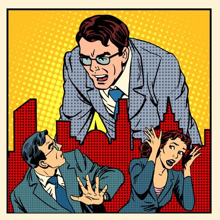 Ilustración de boss anger work office business concept retro style pop art - Imagen libre de derechos