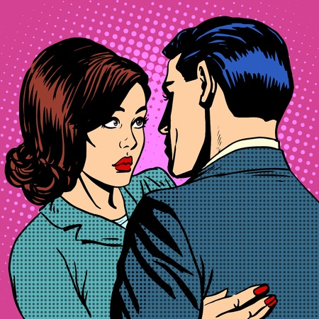 Ilustración de Couple in love hugging pop art retro style - Imagen libre de derechos