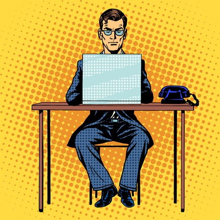 Illustration for Businessman works behind laptop retro style pop art - Royalty Free Image