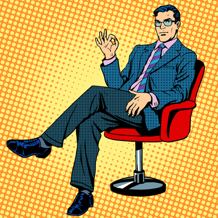 Illustration for Businessman sitting in an armchair gesture okay pop art retro style - Royalty Free Image