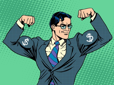 Illustration for Businessman with muscles currency dollar pop art retro style - Royalty Free Image