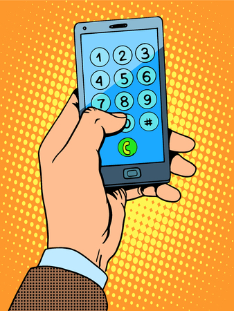 Illustration for Hand smartphone phone number pop art retro style - Royalty Free Image
