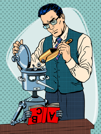 Illustration for Education scientist teacher robot student pop art retro style - Royalty Free Image