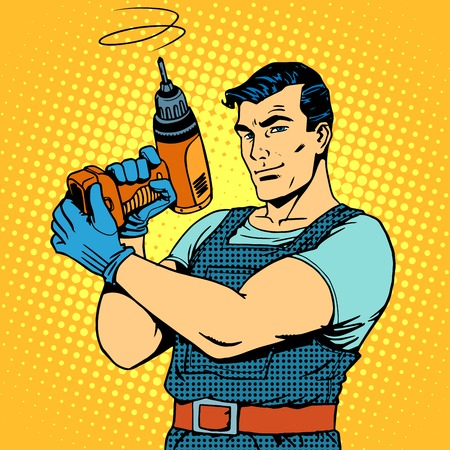 Illustration pour Repair work with a drill pop art retro style. Male professional homework - image libre de droit