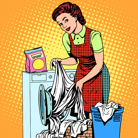 Illustration for A woman washes clothes in a washing machine pop art retro style. Housewife doing the housework. Clean and tidy - Royalty Free Image