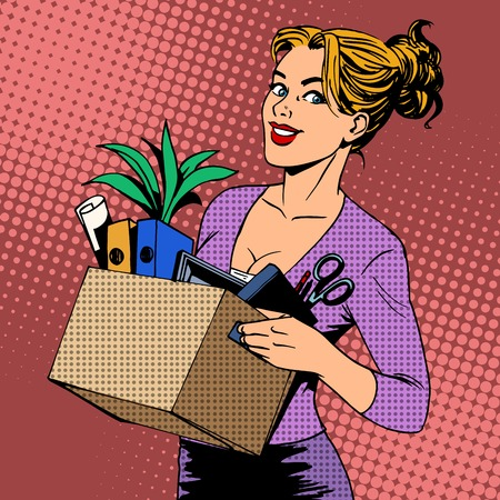 Illustration pour New job business lady comes to the office pop art retro style. Career job search - image libre de droit