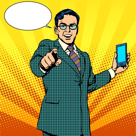 Foto de buy a new gadget and phone business concept pop art retro style. Businessman touts smartphone - Imagen libre de derechos