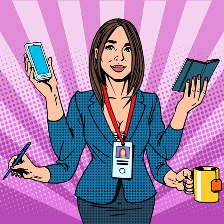 Illustration pour Businesswoman works hard pop art retro style. Business success time management - image libre de droit