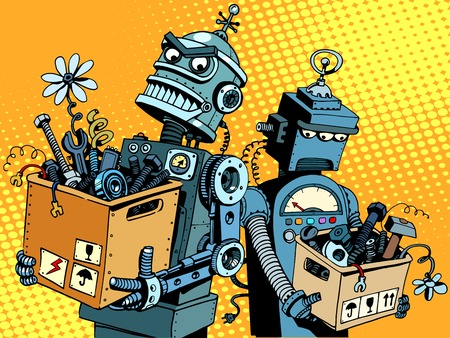 Illustration for Competition of gadgets and new technologies pop art retro style. Evil robot comes to work. Sad robot retires - Royalty Free Image