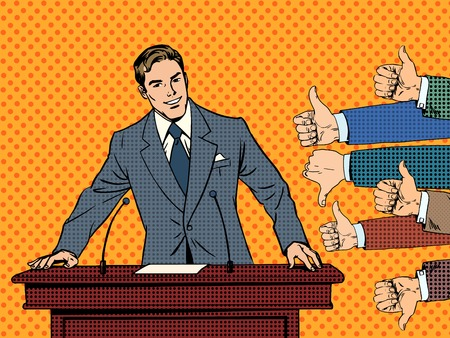 Illustration for Businessman speaker business concept like dislike hands. Good or bad speech. The response from the audience - Royalty Free Image