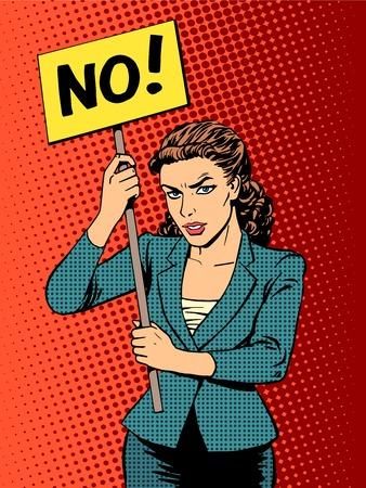Illustration pour businesswoman policy protest with a poster no pop art retro style - image libre de droit