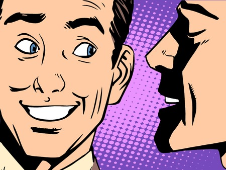 Illustration for Gossip business concept pop art retro style. The man whispers in your ear - Royalty Free Image