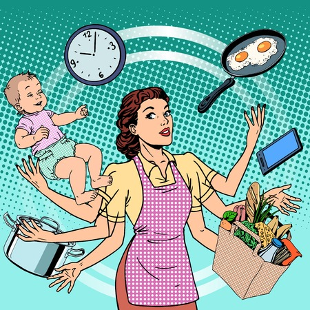 Ilustración de Housewife work time family success woman pop art retro style. A woman plans the time and manages to do everything around the house. Child care, work via smartphone, cooking, household chores. - Imagen libre de derechos