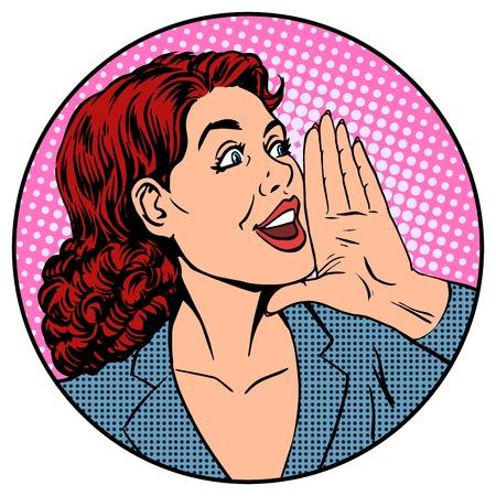 Ilustración de Woman businesswoman calling advertises agitates pop art retro style - Imagen libre de derechos