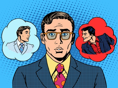 Illustration pour devil angel businessman choice between good and evil pop art retro vintage style - image libre de droit