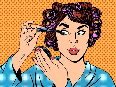 Ilustración de woman perms makeup hair beauty morning pop art retro vintage style - Imagen libre de derechos