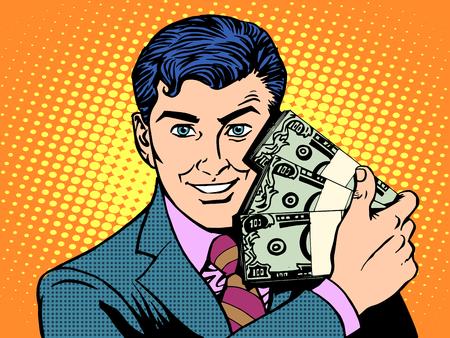Ilustración de Rich with wads of dollars. The business concept of financial success pop art retro style - Imagen libre de derechos