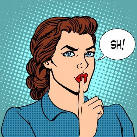 Ilustración de Top secret silence businesswoman concept pop art retro style. Beautiful woman put her finger to her lips, calling for silence - Imagen libre de derechos