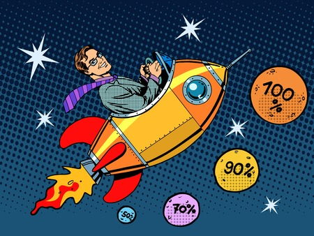 Illustration pour Space closeout business concept growth in sales and interest pop art retro style - image libre de droit