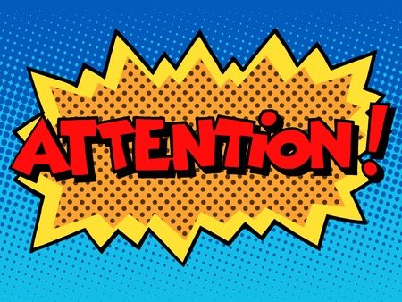 Illustration for attention inscription comic book style pop art retro - Royalty Free Image