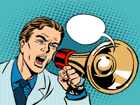 Ilustración de man megaphone policy promotion pop art retro style. Political protest demonstration rally. Advertising campaign poster appeal - Imagen libre de derechos
