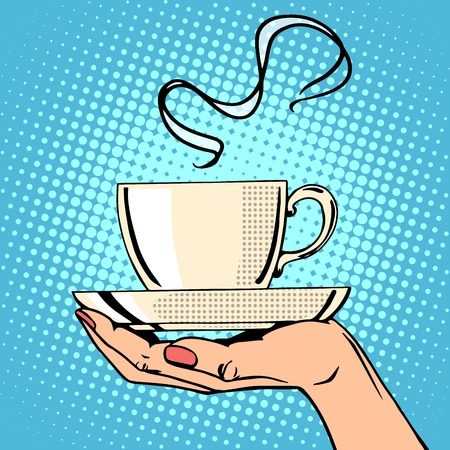 Illustration for Hot coffee cup woman hand pop art retro style - Royalty Free Image